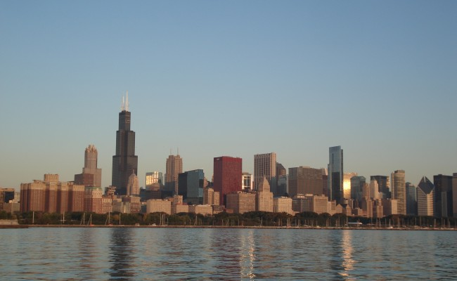 A view of the Chicago skyline from Lake Michigan.