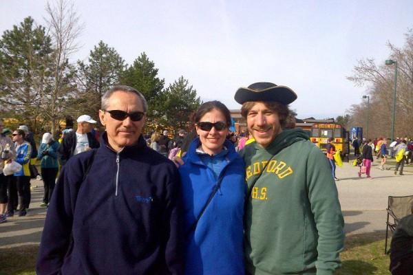 Max, Jo and Alex at the Boston Marathon start 2013. Alex in his
